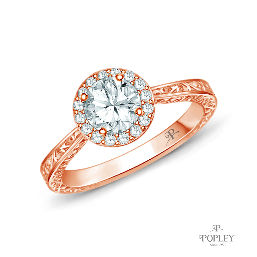 Antique Scroll Halo Style Engagement Ring Semi Mount in Rose Gold