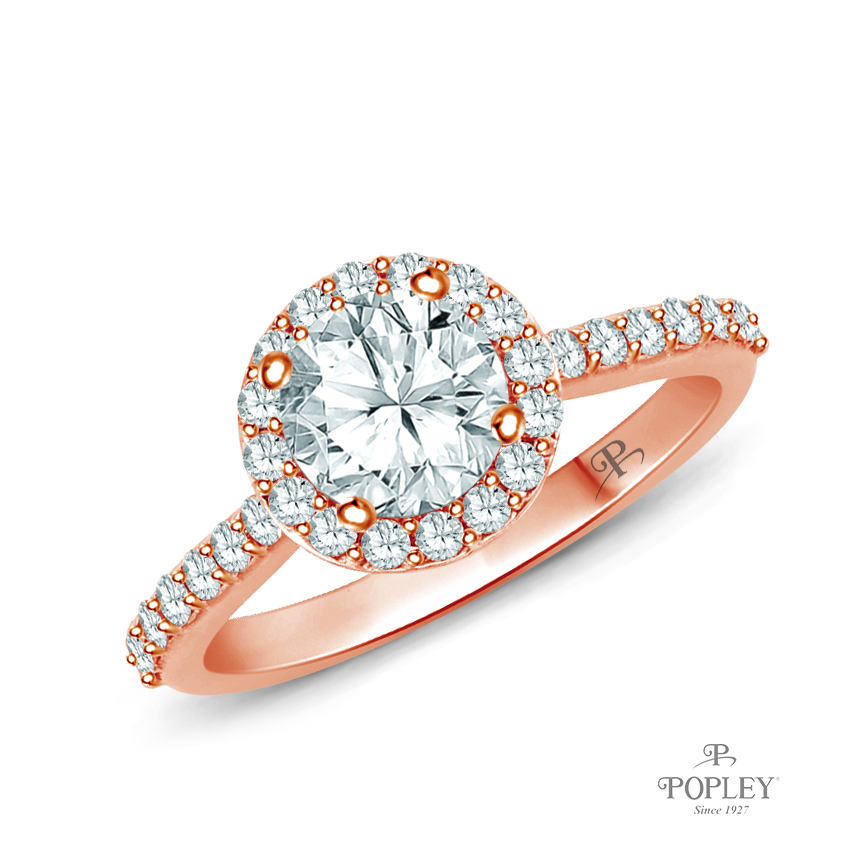A Beautiful Halo Diamond Engagement Ring Semi Mount in Rose Gold