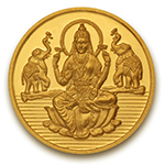 Popley 22Kt Yellow Gold 916 Purity 8 Gram Coin with Goddess Lakshmi Design