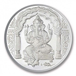 Popley Silver 999 Purity 50 Gram Coin with Goddess Ganesh Design