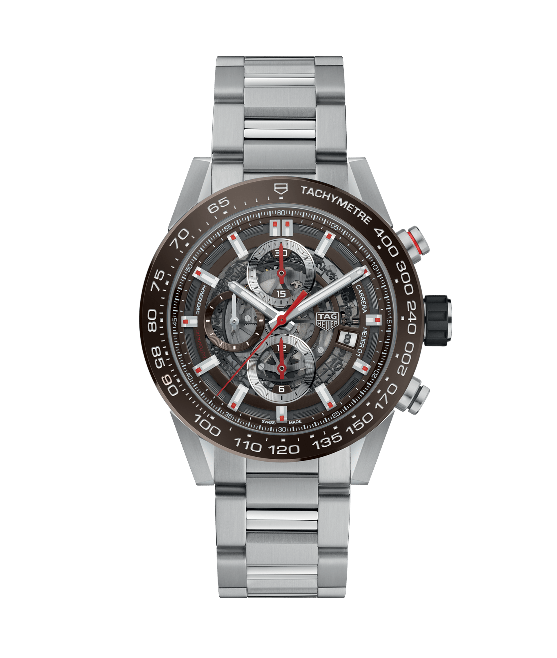 TAG HEUER CARRERA CALIBRE HEUER 01 AUTOMATIC CHRONOGRAPH 100m - 43mm - CAR201U.BA0766