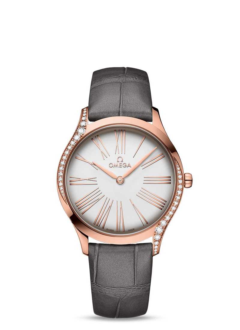 Omega De Ville TRÉSOR QUARTZ 36 MM Sedna™ gold on leather strap - 428.58.36.60.02.001