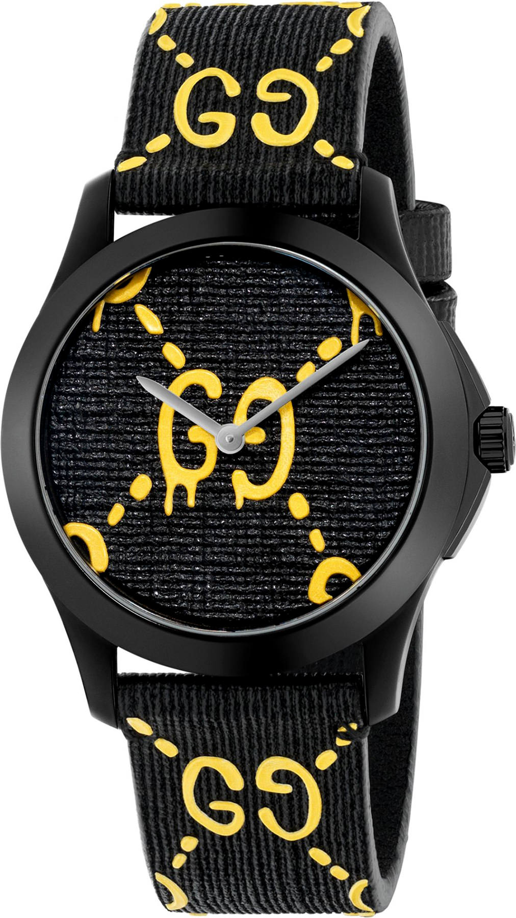 Gucci Ghost G-Timeless Black and Yellow Dial Men's 38mm Rubber Quartz Watch - YA1264019