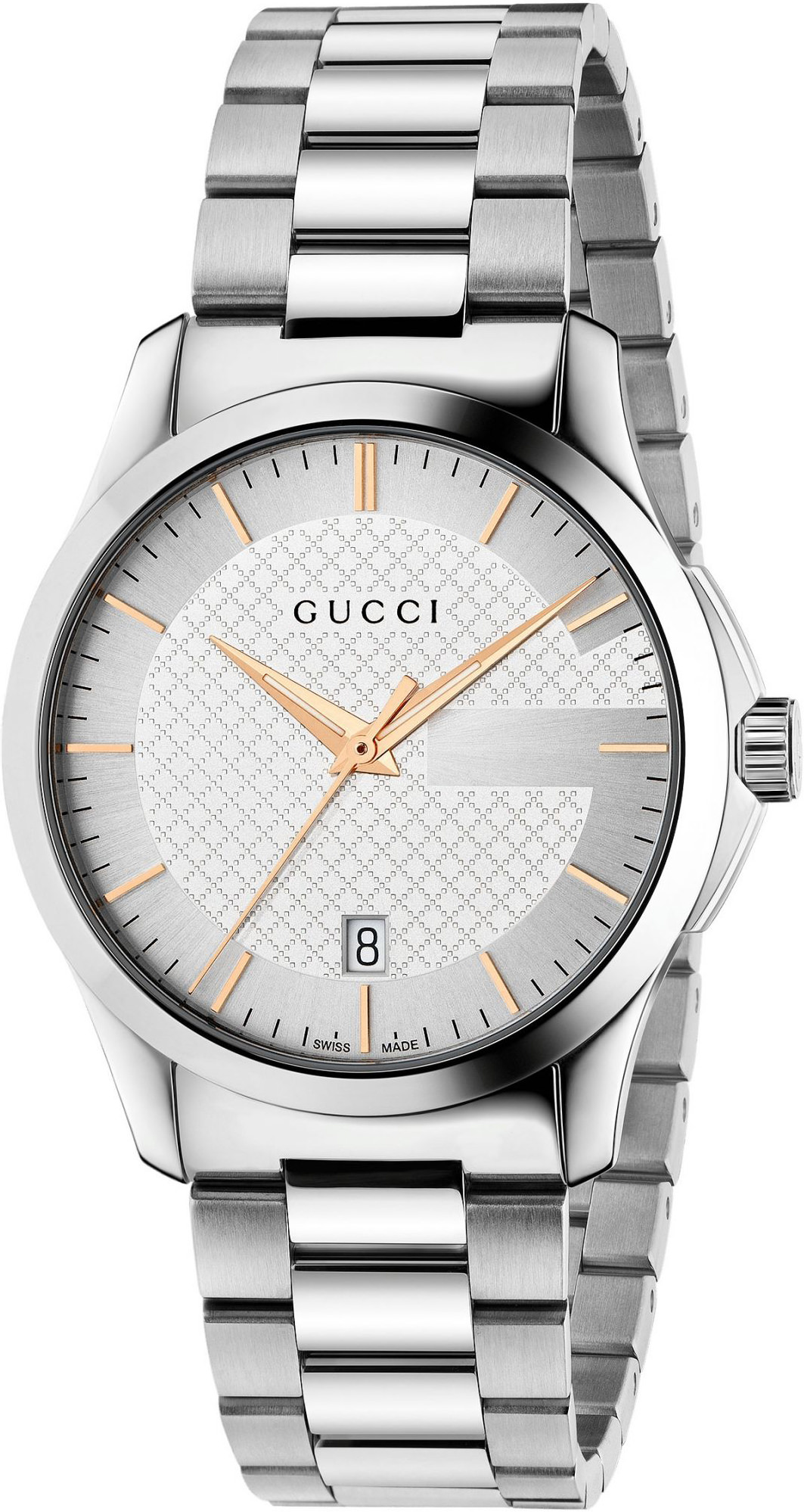 Gucci G-Timeless Silver Dial 38mm Stainless Steel Unisex Quartz Watch - YA126442