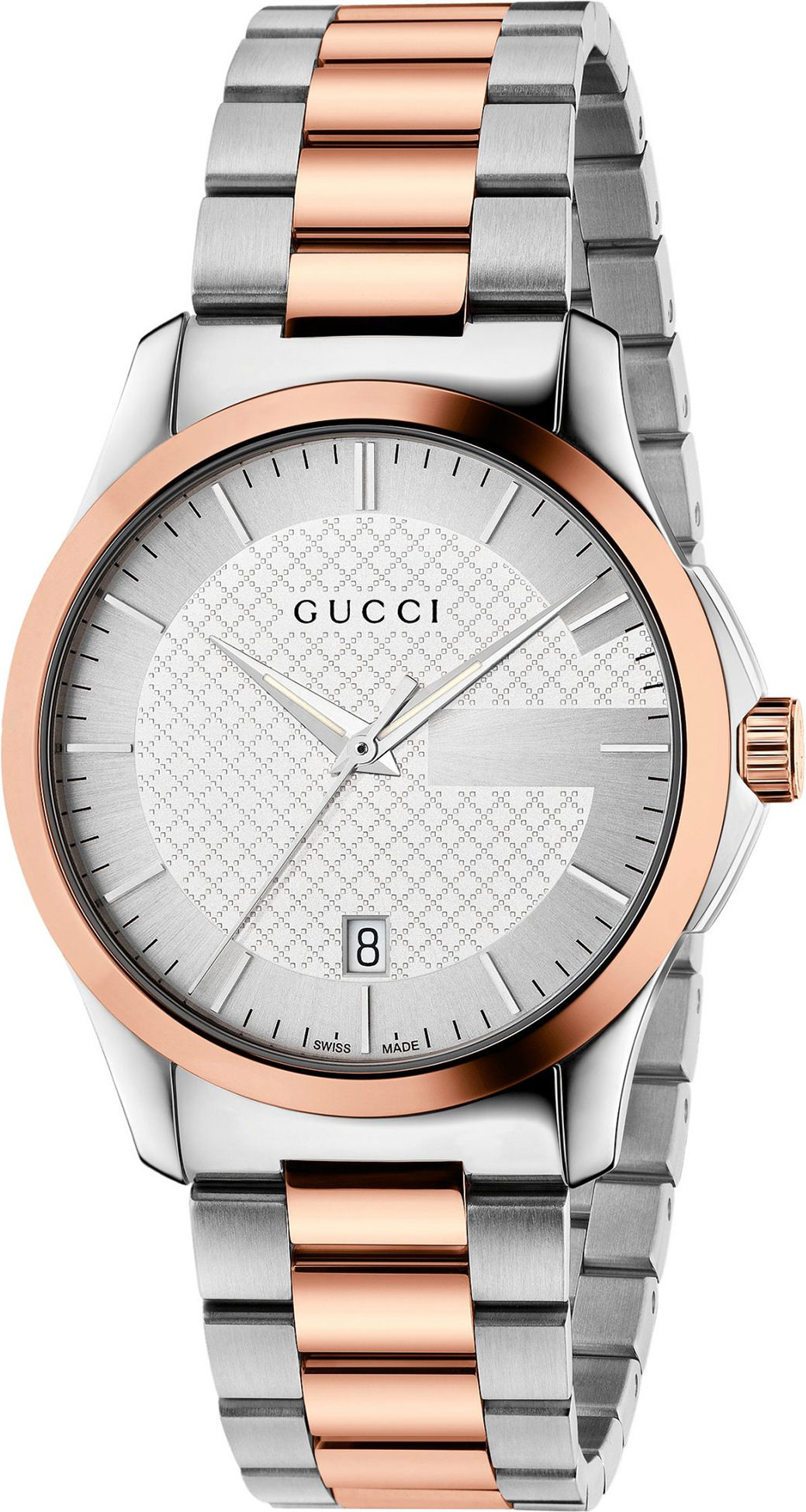 Gucci G-Timeless Silver Dial 38mm Stainless Steel and Pink Gold PVD Unisex Quartz Watch - YA126447