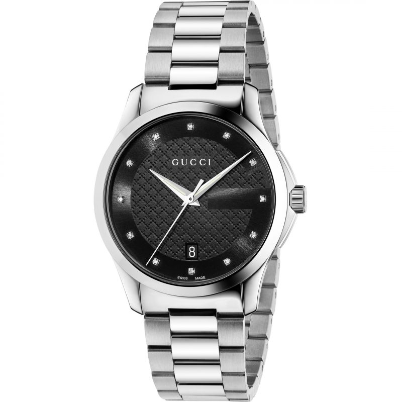 Gucci G-Timeless Black Dial 38mm Stainless Steel Unisex Quartz Watch - YA126456