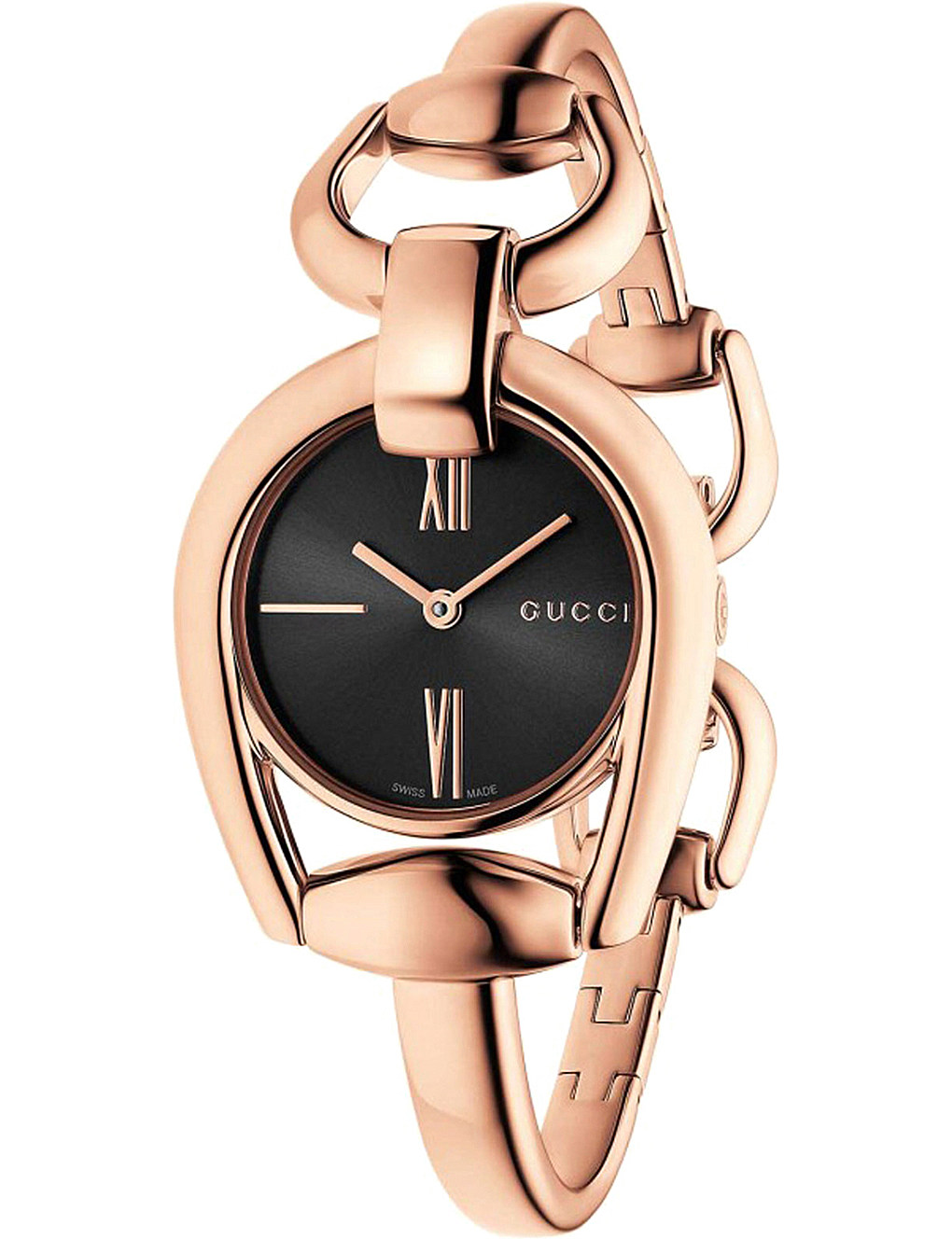 Gucci Horsebit Collection Black Dial 28mm Rose Gold PVD Ladies Quartz Watch - YA139507