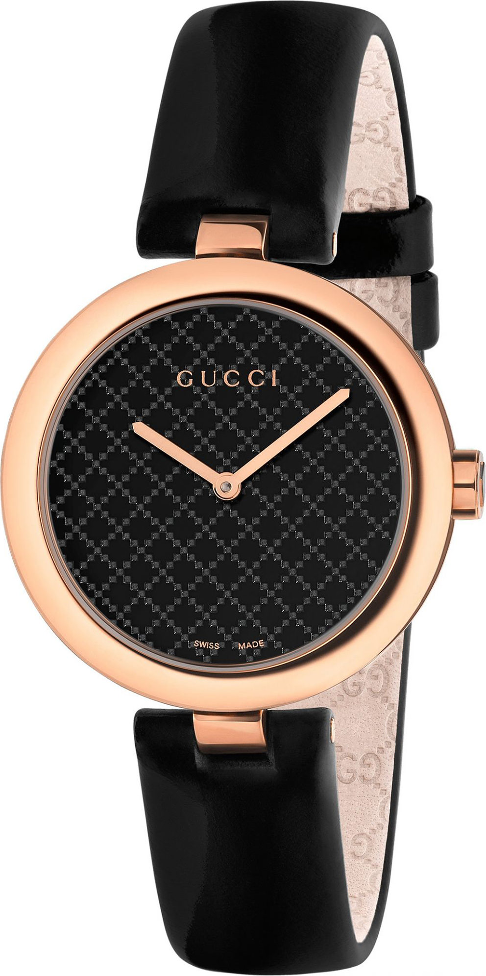 Gucci Diamatissima Black Lacquered Dial 32mm Rose Gold PVD Ladies Quartz Watch - YA141401