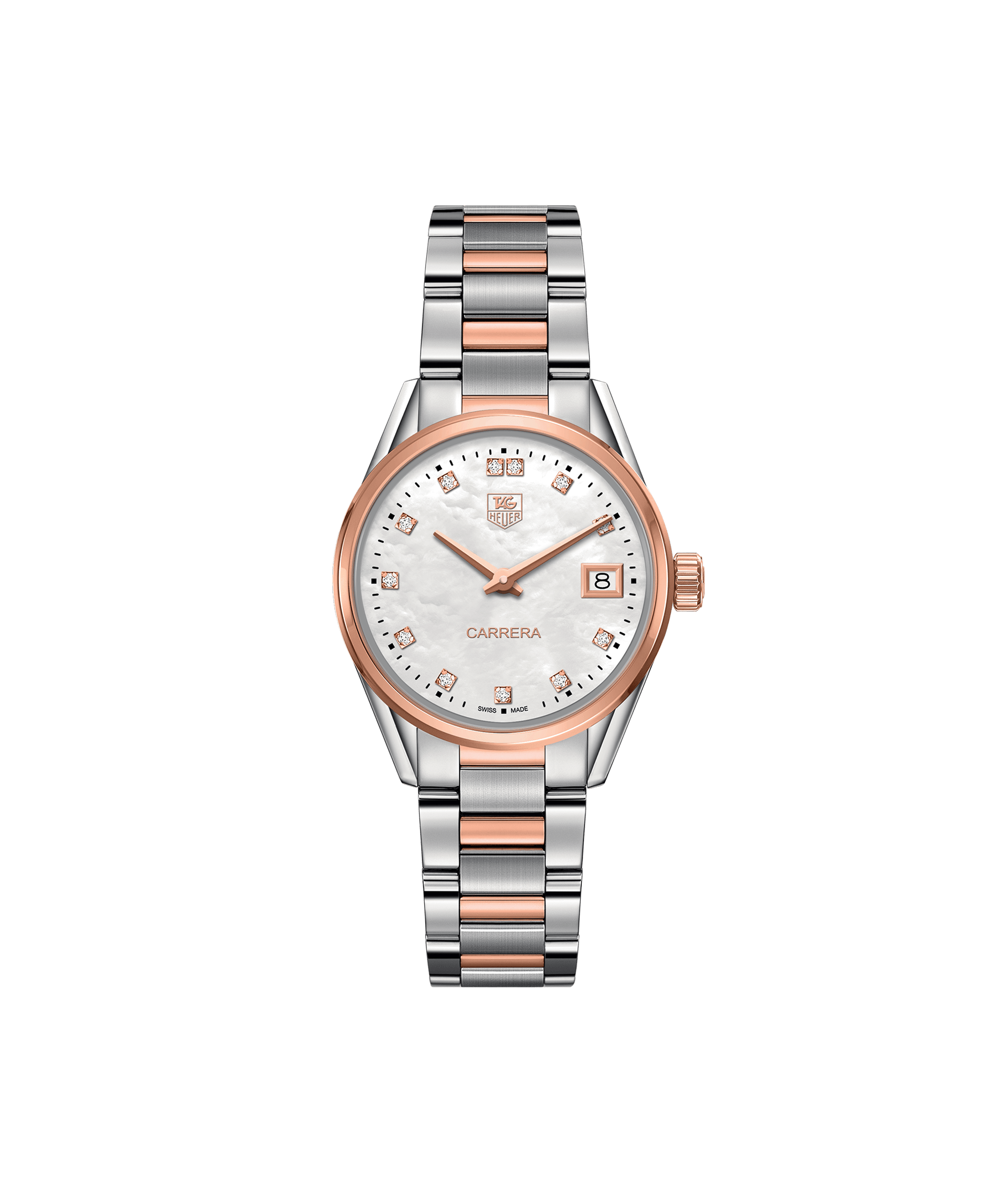 TAG HEUER CARRERA 100m - 32mm - ROSE GOLD & DIAMONDS QUARTZ - WAR1352.BD0779