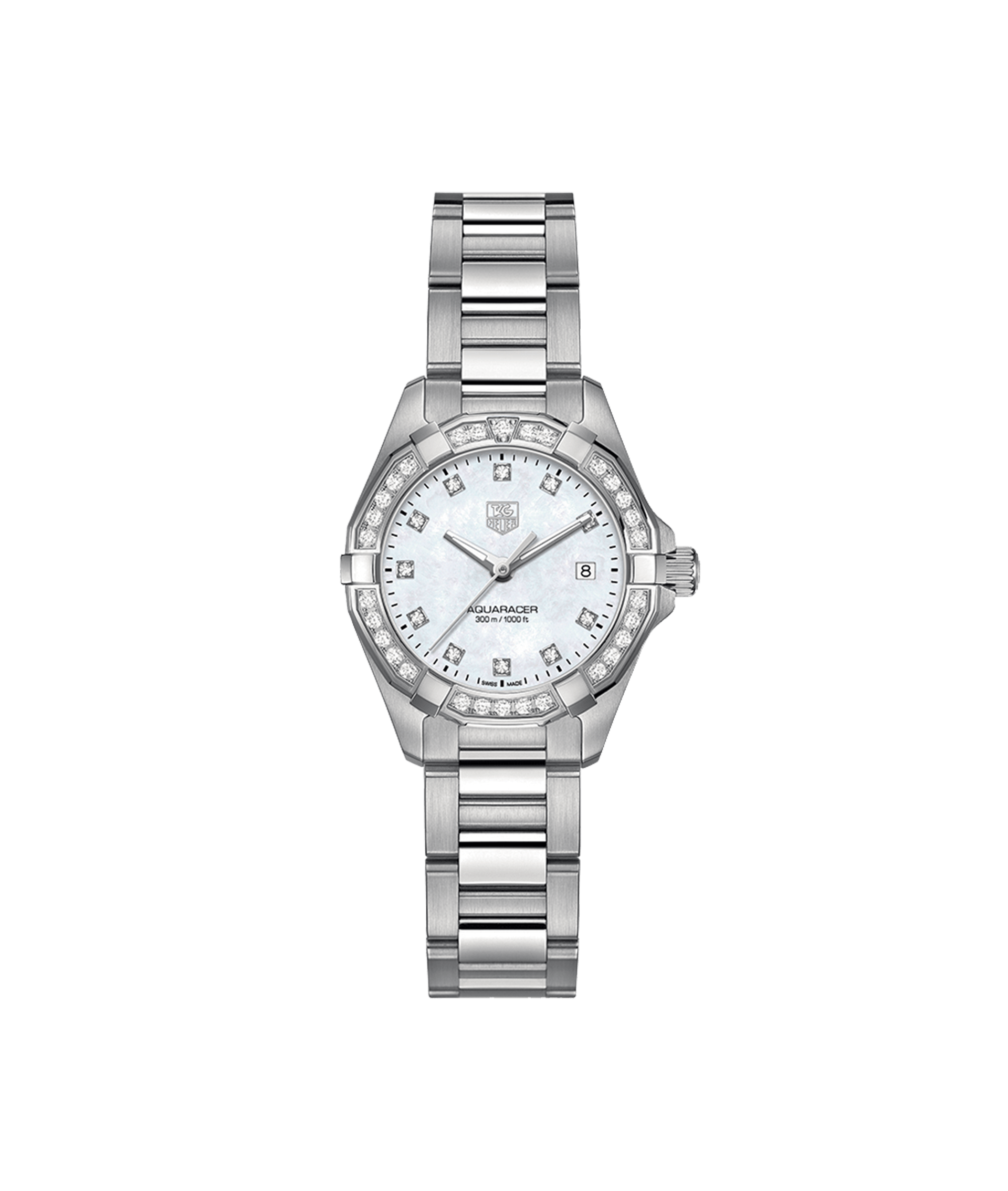 TAG HEUER AQUARACER 300m - 27mm QUARTZ DIAMOND DIAL & BEZEL - WAY1414.BA0920