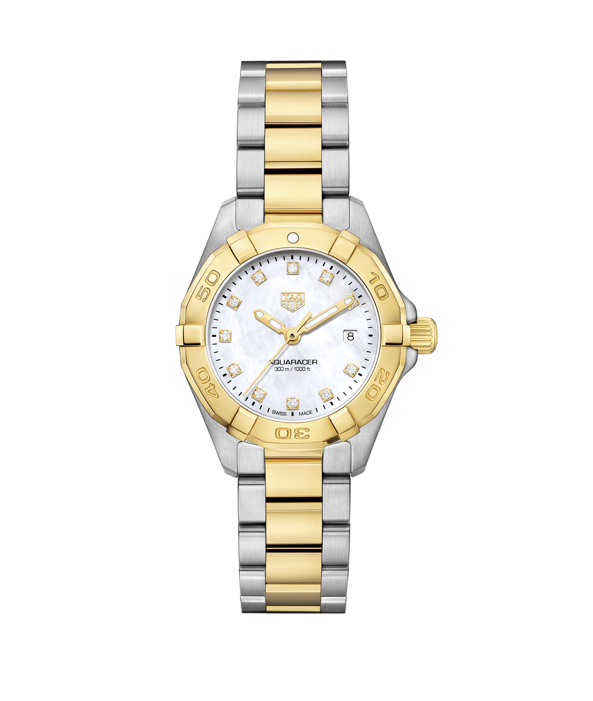 TAG HEUER AQUARACER 300m - 27mm QUARTZ 18K GOLD BEZEL - WBD1422.BB0321