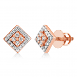 VFM 14K Rose Gold Diamonds Stud Earrings - VFM496