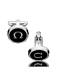 Omega CUFFLINKS Stainless steel and black lacquer - C91STA0206105