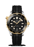 Omega Seamaster DIVER 300M CO-AXIAL MASTER CHRONOMETER 42MM Steel - yellow gold on rubber strap - 210.22.42.20.01.001