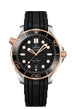 Omega Seamaster DIVER 300M CO-AXIAL MASTER CHRONOMETER 42MM Steel - Sedna gold on rubber strap - 210.22.42.20.01.002