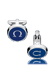 OMEGA CUFFLINKS Stainless steel and marine blue lacquer - C91STA0206305