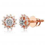 VFM 14K Rose Gold Diamonds Stud Earrings - VFM481