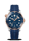 Omega Seamaster DIVER 300M OMEGA CO-AXIAL MASTER CHRONOMETER 42MM Steel - sedna™ gold on rubber strap - 210.22.42.20.03.002