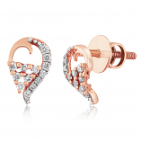 VFM 14K Rose Gold Diamonds Stud Earrings - VFM488