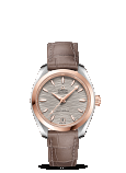 OMEGA Seamaster AQUA TERRA 150M CO‑AXIAL MASTER CHRONOMETER 34MM Steel ‑ Sedna™ gold on leather strap - 220.23.34.20.06.001