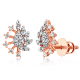 VFM 14K Rose Gold Diamonds Stud Earrings - VFM492