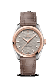 OMEGA SEAMASTER AQUA TERRA 150M CO-AXIAL MASTER CHRONOMETER LADIES 38MM Steel - sedna™ gold on leather strap - 220.23.38.20.06.001