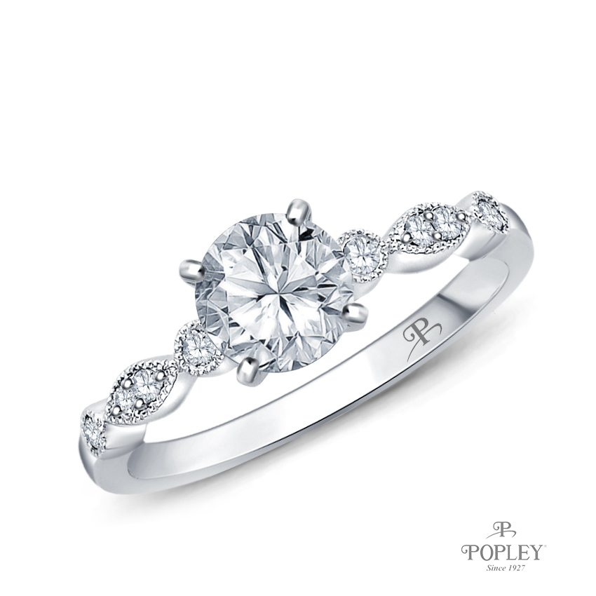A Marquise Style Setting With Detailed Milgrain Semi Mount in White Gold