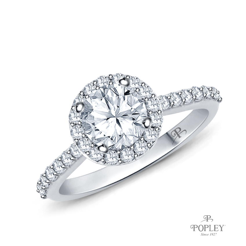 A Beautiful Halo Diamond Engagement Ring Semi Mount in White Gold